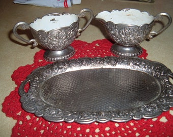 Antique Floral Cluster Creamer & Sugar Set With Tray