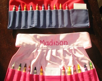 Personalized Crayon Apron Pink or Blue