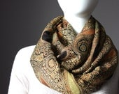 Paisley infinity scarf, brown , rust scarf, rust infinity scarf