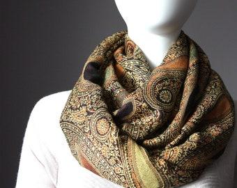 Paisley infinity scarf, brown , rust scarf, rust infinity scarf