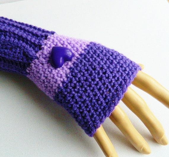 Purple Heart Fingerless Gloves/Mittens