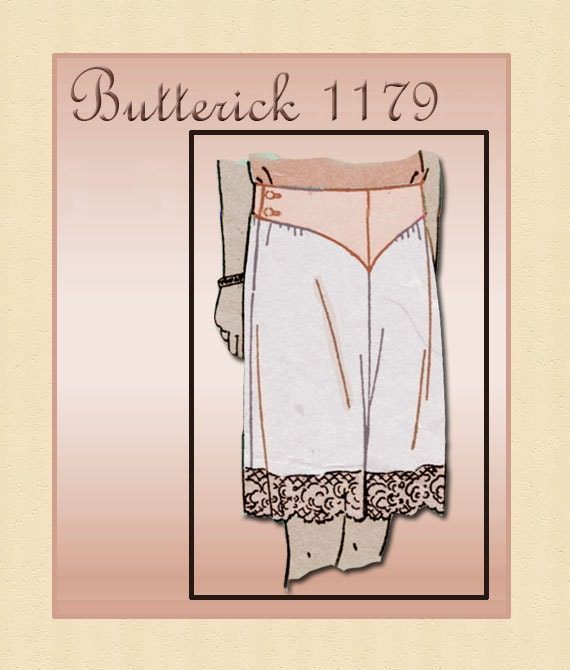 1920s Lingerie Pattern Butterick 1179 1920s Ladies French Drawers or Yoked Panties