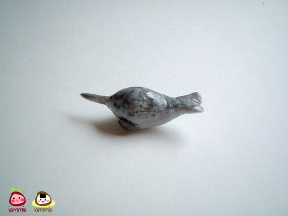 Miniature Clay Narwhal, mini animal, poly clay, polymer clay animal, miniature narwhal, small, tiny, little, dollhouse miniature, iammie