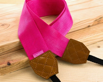 Camera Strap - Shocking Pink for DSLR and Mirrorless Cam with Brown Tag