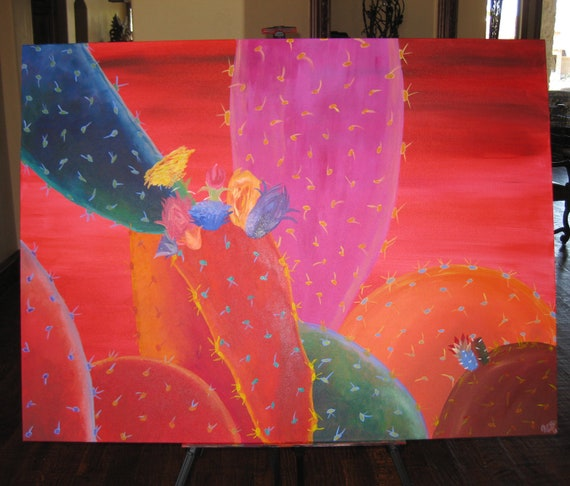 colorful abstract cactus painting
