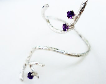 Handmade Sterling Silver Amethyst Twig Ring, Valentine's Gift, Eco-friendly Silver
