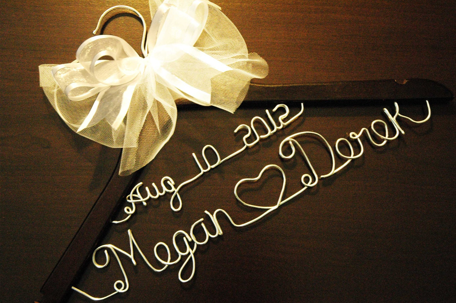 Personalized custom bridal hanger with bow and date by for Personalised wedding dress hanger