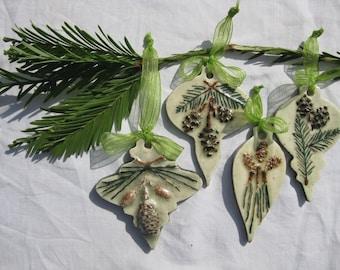BOTANICAL PINECONE ORNAMENT Botanical Ceramic Ornaments Natural Christmas Ornaments, Ceramic Tree Ornaments