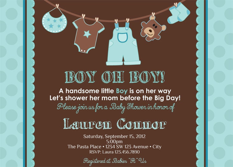 Boy Baby Shower Invitation Baby Boy Shower by artisacreations