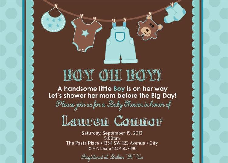 Boy Baby Shower Invitation Baby Boy Shower by artisacreations