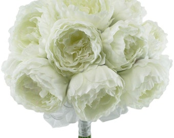 Ivory Silk Peony Hand Tie (24 Peonies) - Bridal Wedding Bouquet