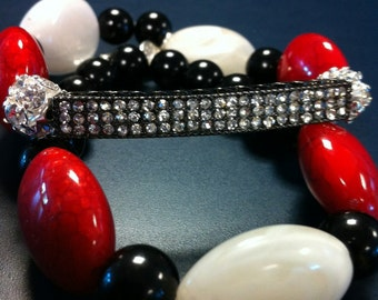 CELEBRITY Inspired Rhinestone Beaded stackable bracelets Celebrity and Basketball wives Inspired