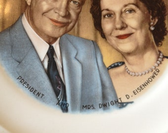 Vintage 50's Presidential Plate of Dwight and Mamie Eisenhower