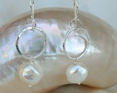 Fine Silver Earrings with Large White Freshwater Pearl