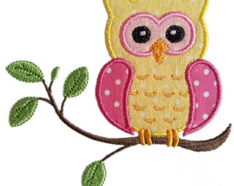 Instant Download Owl on the branch Applique Machine Embroidery Design NO:1141