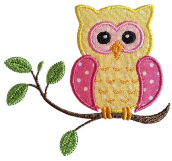 Instant Download Owl On The Branch Applique Machine Embroidery