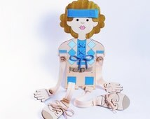 Lacing, Fine Motors, Doll for Boys, Small Motors Practice, Buttons, Zippers,Wood Toy.