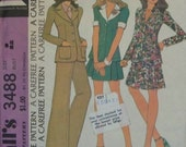 """Vintage 1973 McCall's 3488 """"Carefree"""" Pattern for Misses' and Juniors' Three Piece Suit with Unlined Jacket in Size 9"""
