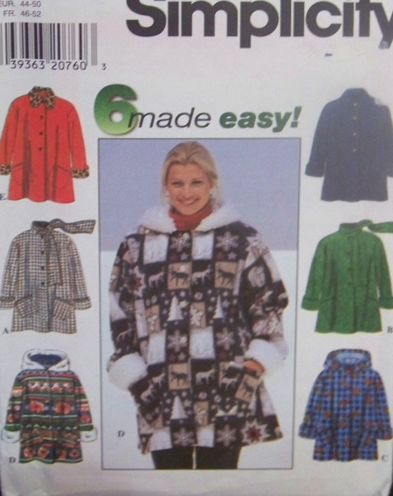 Simplicity 7803 UNCUT Pattern from 1997 for Misses' Car-Coat with 6 Variations in Sizes Large, XLarge