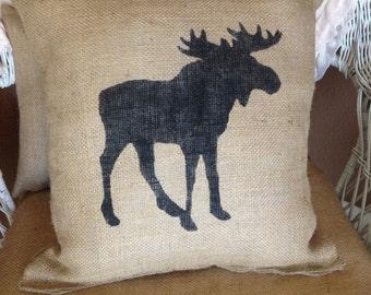 Burlap moose pillow, lodge decor, rustic decor, throw pillow, accent pillow