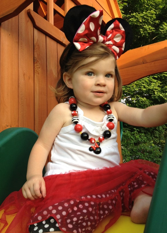 Minnie Mouse Chunky Bubblegum Necklace. Red and Black With Minnie Charm-Girls Boutique Necklace or Photography Prop. Lead/Nickel Free