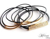 Black Leather Bangle Bracelet, Leather Bracelets for Women, Gold Tube, Pave Crystal, Leather Jewelry, Gold Bangle, Black Leather, Crystal