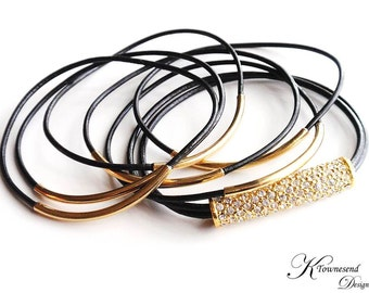 Black Leather Bangle Bracelet, Leather Bracelets for Women, Gold Tube, Pave Crystal, Leather Jewelry, Gold Bangle, Black Leather, Crystal