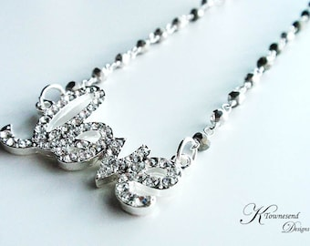Love Necklace, Silver Jewelry Pyrite Silver Chain Bead Chain Choker Rhinestone Crystal  In Love - KTownesend