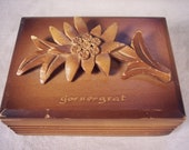 Wooden Souvenir Trinket Box, Swiss, Switzerland, Wood, Vintage