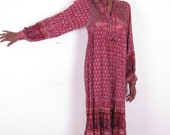 Vintage Hippie India Gauze Satin Padded Bib Sheer Cotton Bohemian Dress