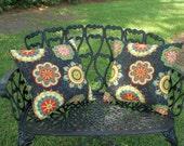Indoor/Outdoor Black Floral Print Pillow Set