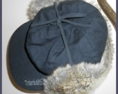 Timberland Dark Blue Cotton Cap with faux fur lined ear flaps