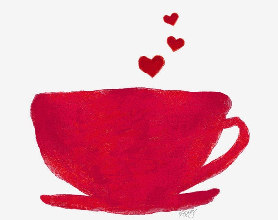 Coffee Lover Art Print Red Heart Watercolor Kitchen Bistro Diner Coffee Cup 8x10