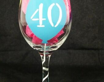 Hand Painted 40th Birthday Wine Glass