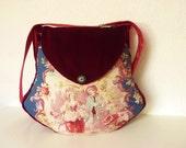 "Boho Toile de Jouy Bag Purse ""Liadan"" French Fabric Victorian Bag Baroque Velvet Marie Antoinette, Romantic  Medieval Bag Brocade Red Blue"