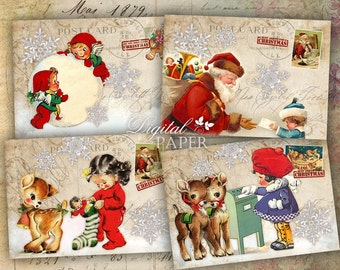 Ho ho ho - digital collage sheet - set of 8 - Printable Download