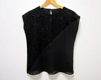 1980s Sheer Black Sleeveless Tank Top OOAK - Hipster Glam New Wave Goth Noir Dark - Medium Large