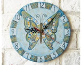 The Blue Butterfly Wall Clock, Home Decor for Children Baby Kid Girl