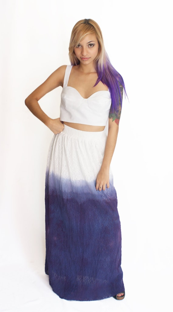 Lace Maxi Skirts Dip Dyed in Navy Blue - ON SALE