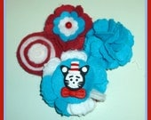 Cat in the Hat Red, White, and Blue Wool Felt Hair Clip Headband With Clay Center Photo Prop Thing 1 Thing 2