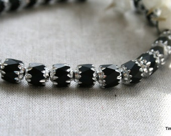 6mm Czech Matte Black with SIlver Cathedral Beads