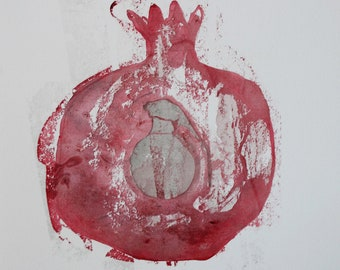Pomegranate Grenade Watercolor Monoprint Painting