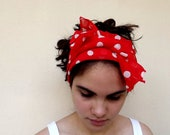 Scarf headband red polka dot for spring and summer