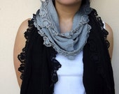Scarf 100% Cotton Gray Black Batik - Spring Fashion