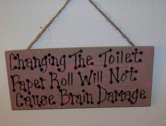 Funny Bathroom Toilet Paper Sign, Funny Bathroom Decor, Powder Room Art