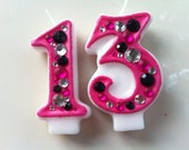 Birthday Candle - Blinged Out Number Candle - DOUBLE DIGIT - Rhinestone, glitter, blingy number candles.