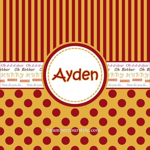 Polka Dots and Stripes Winnie the Pooh Personalized Shower Curtain, Custom Monogrammed Curtain