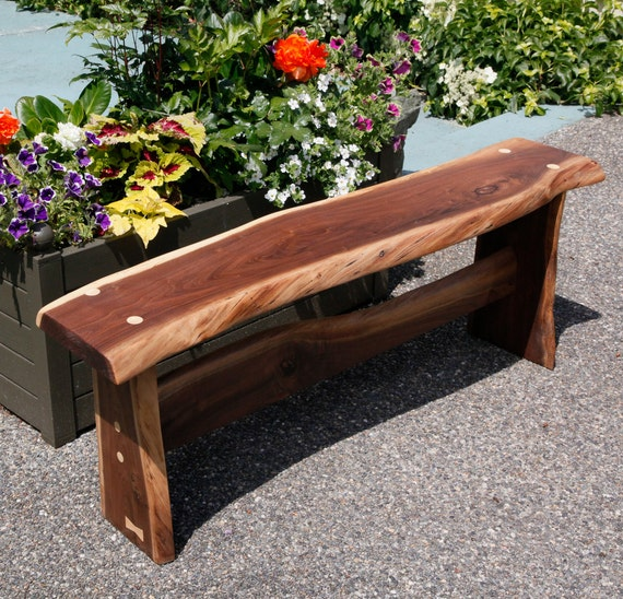 Live Edge Rustic Black Walnut Bench Or Plant By Owlswhatknots