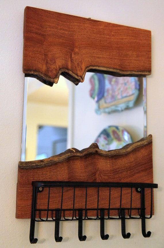Live Edge Red Oak Mirror Key/Mail Holder