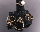 10PCS- Nickel Free And Lead Free Antiqued bronze Adjustable Pad Flower RING Base(E300)
